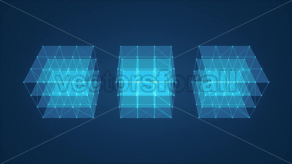 3d Cube Box With Glowing Strokes Spinning - Vectorsforall