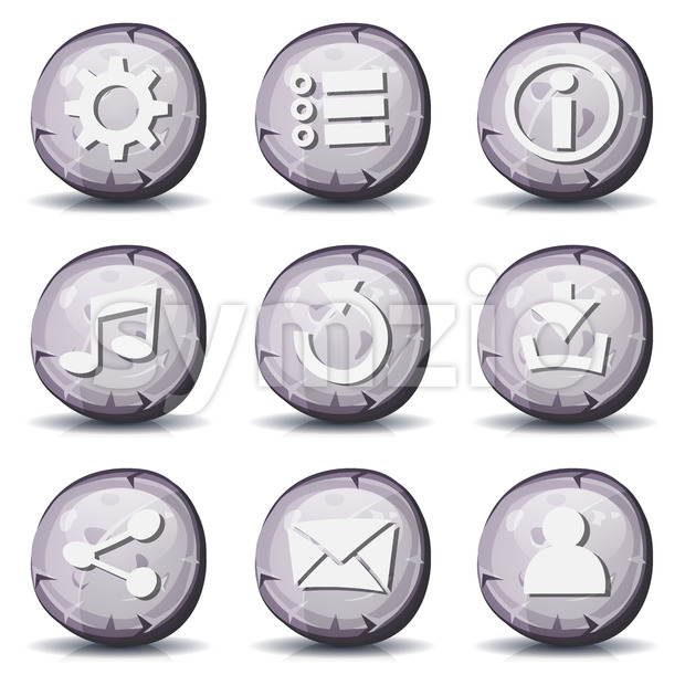 Illustration of a set of cartoon comic stone and rock ui game icons and buttons elements, with main user interface ...