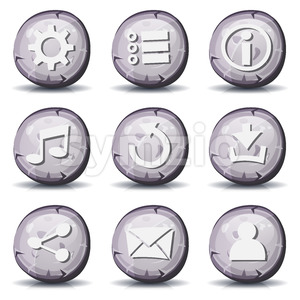 Stone And Rock Icons For Ui Game Stock Photo