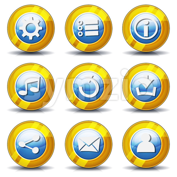 Gold Icons For Ui Game Stock Vector