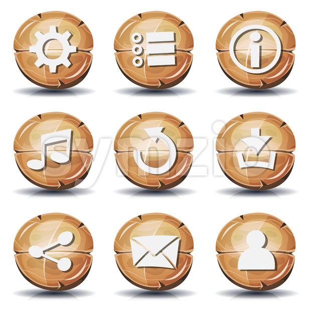 Funny Wood Icons And Buttons For Ui Game Stock Vector