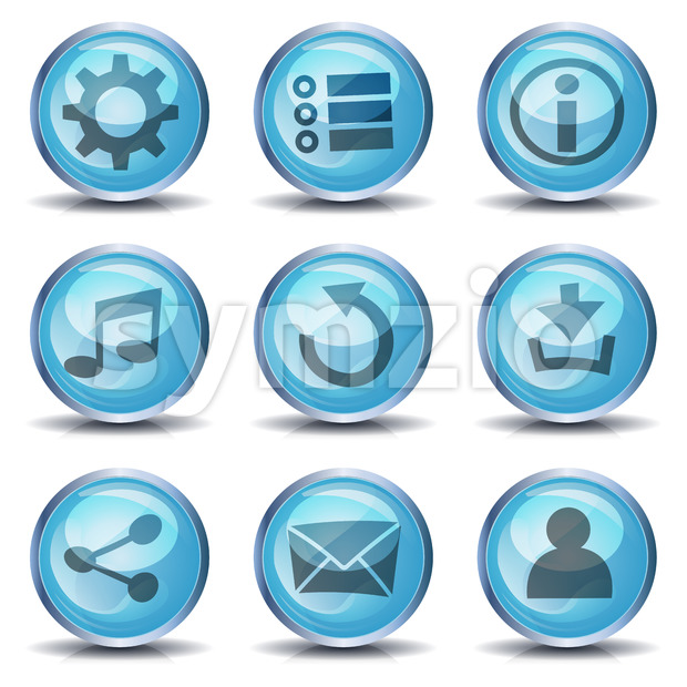 Icons And Buttons For Ui Game Stock Vector