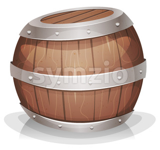 Cartoon Funny Wood barrel Stock Photo