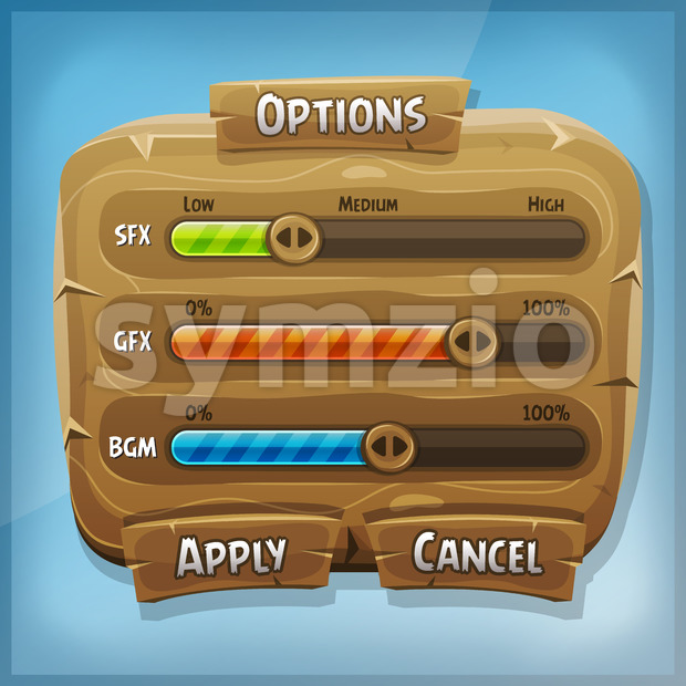 Cartoon Wood Control Panel For Ui Game Stock Vector