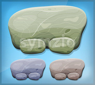 Cartoon Stone Sign For Ui Game Stock Vector