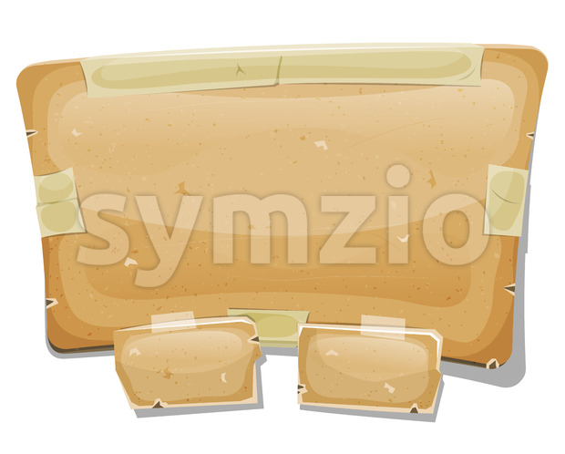Cartoon Cardboard Sign For Ui Game Stock Vector