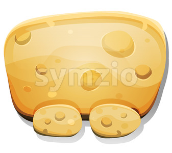Cartoon Cheese Sign For Ui Game Stock Vector