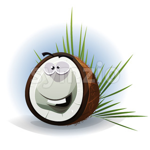 Cartoon Funny Coconut Character Stock Vector