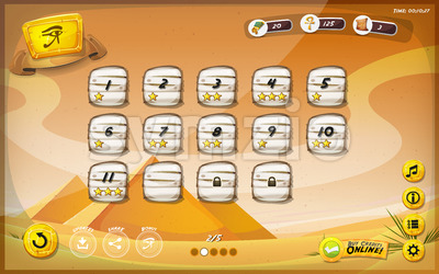 Egyptian Pyramid GUI Design For Tablet Stock Vector