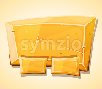 Cartoon Gold Ingot Panel For Ui Game Stock Vector