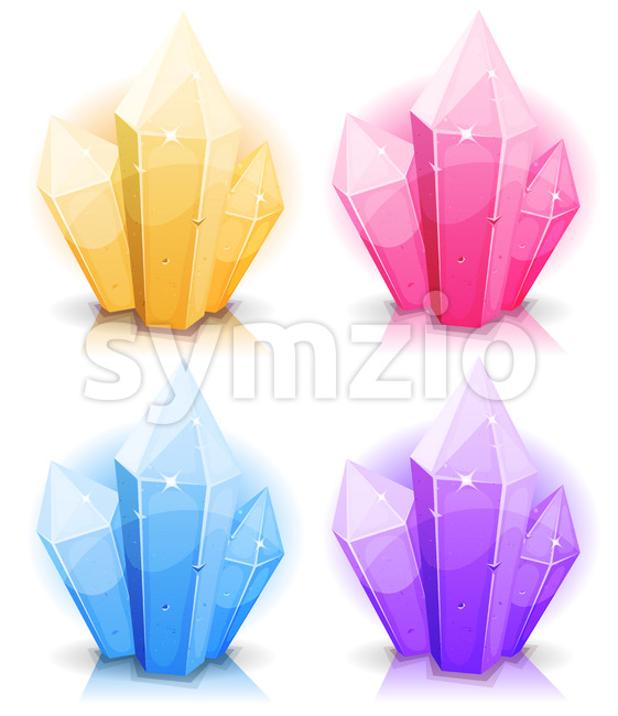 Cartoon Gems And Diamonds Icons Set Stock Vector