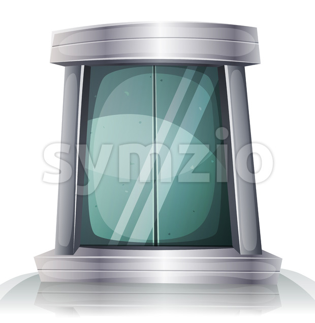 Cartoon Scifi Iron Elevator Door Stock Vector