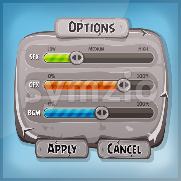 Cartoon Stone Control Panel For Ui Game Stock Vector