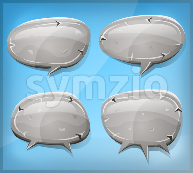 Comic Stone And Rock Speech Bubbles Stock Vector