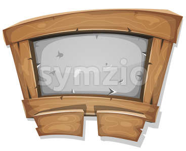Funny Wood And Stone Sign For Ui Game Stock Vector