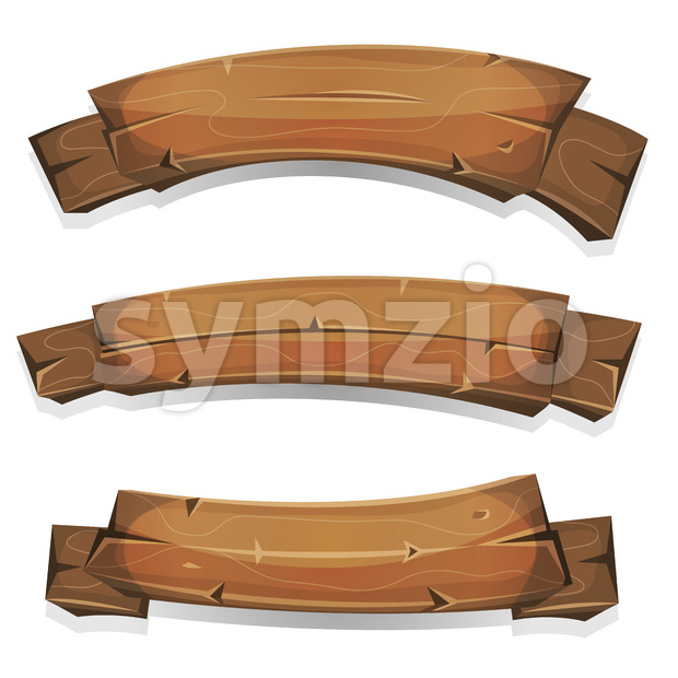Comic Wood Banners And Ribbons Stock Vector