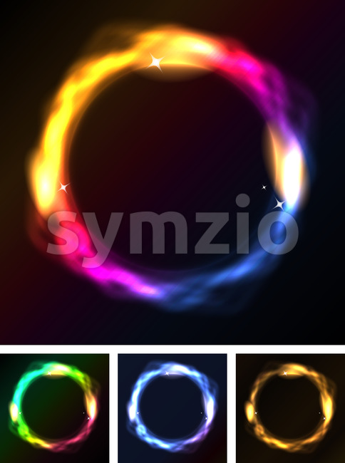 Abstract Neon Circles Or Galaxy Ring Stock Vector