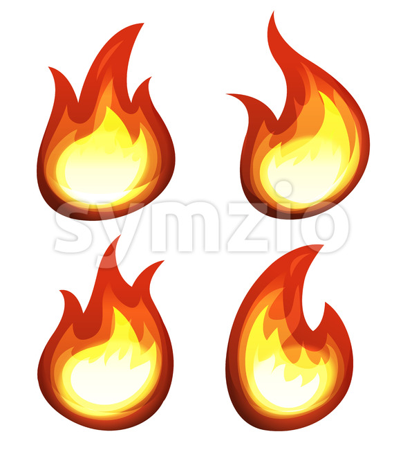 Cartoon Fire And Flames Set Stock Vector