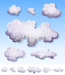 Cartoon Smoke, Fog And Clouds Set Stock Vector