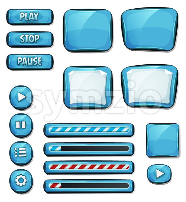 Cartoon Diamonds Elements For Ui Game Stock Vector
