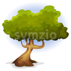 Cartoon Funny Spring Tree Stock Vector
