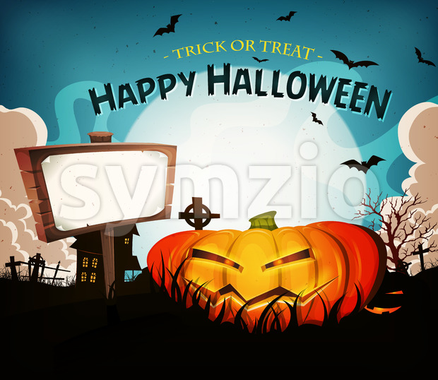 Halloween Holidays Landscape Background Stock Vector