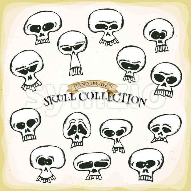 Comic Hand Drawn Skull Head Set Stock Vector