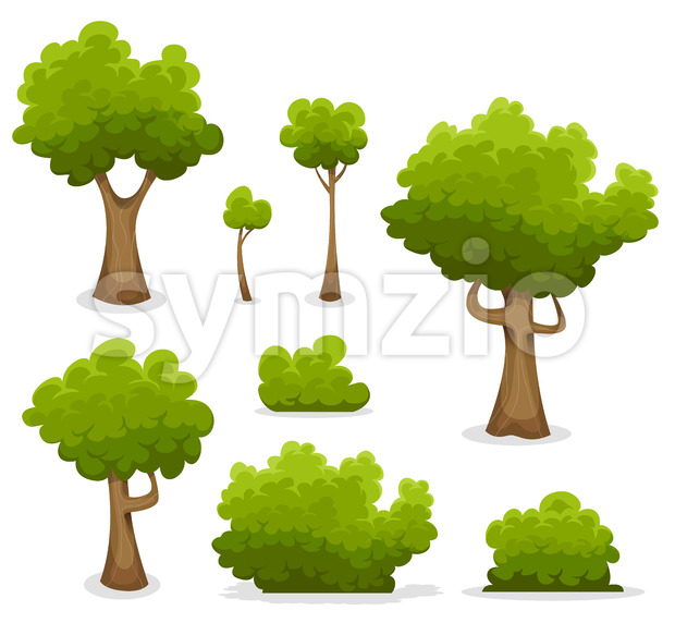 Forest Trees, Hedges And Bush Set Stock Vector