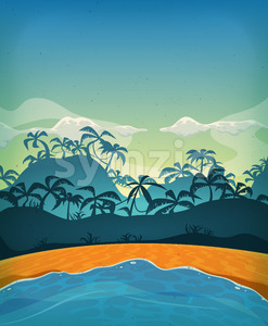 Summer Tropical Desert Island Stock Vector
