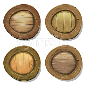 Comic Rounded Wood Viking Shields Stock Vector
