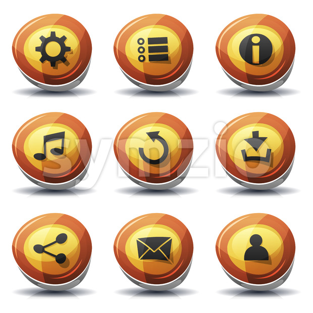 Road Sign Icons And Buttons For Ui Game Stock Vector