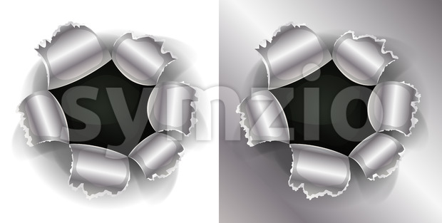 Illustration of a shotgun bullet impact hole, slash, working as well on white and metal background