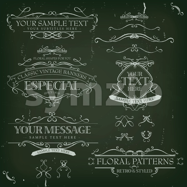 Vintage Old Labels Banners And Frame Stock Vector