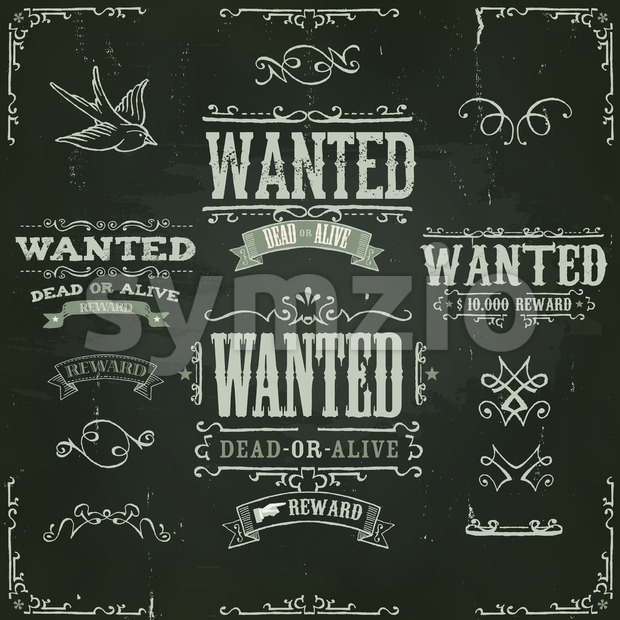 Wanted Vintage Western Banners On Chalkboard Stock Vector