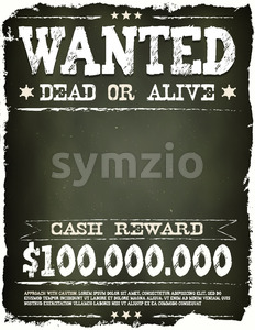 Wanted Vintage Western Poster On Chalkboard Stock Photo