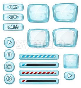 Cartoon Icy Elements For Ui Game Stock Vector