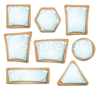 Paper Sheets Signs On Cardboard Set Stock Vector