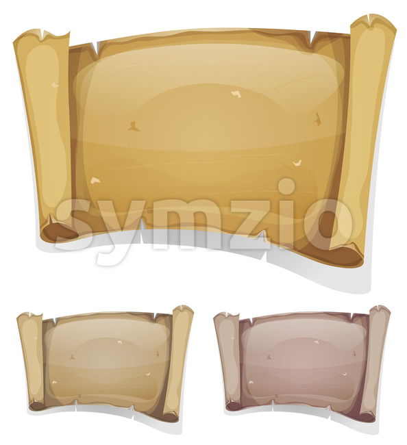Funny Parchment Scroll For Game Ui Stock Vector