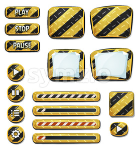 Warning Icons And Elements For Ui Game Stock Vector