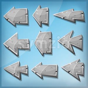 Stone Arrows Signs For Ui Game Stock Vector