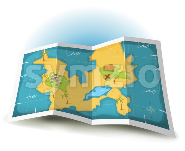 Illustration of a cartoon treasure island and map icon