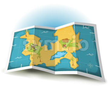 Treasure Island And Pirate Map Stock Vector