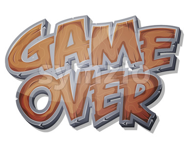 Game Over Wooden Icon For Ui Game Stock Vector