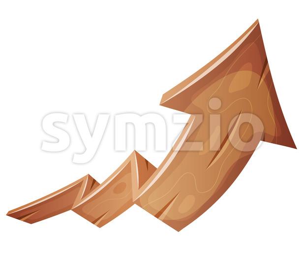 Cartoon Wood Rising Arrow Stock Vector