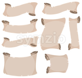 Parchment Scroll And Banners Set Stock Vector