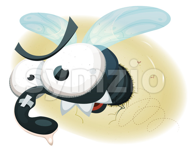 Comic Funny Housefly Stock Photo