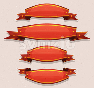 Comic Red Circus Banners And Ribbons Stock Vector