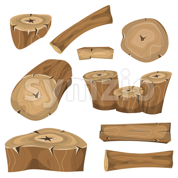 Wood Logs, Trunks And Planks Set Stock Vector