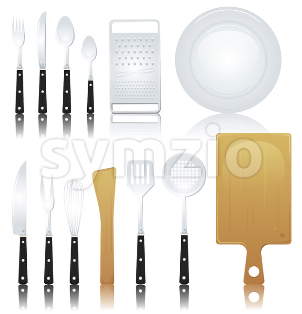 Fork, Knife And Various Kitchenware Stock Vector