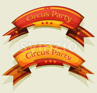 Comic Circus Party Banners And Ribbons Stock Vector